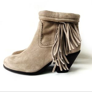 Sam Edelman Suede Leather Fringed Ankle Boots